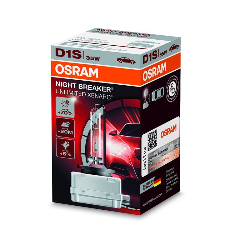 D1S Xenarc Night Breaker Unlimited +70% 66140XNB 35W PK32D-2 4X1 FS1 by OSRAM