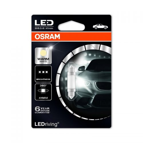6499WW-01B 1W 12V SV8.5-8 5XBLI1 - Festoon 41mm (6411 Form) 6000K (M1) by OSRAM